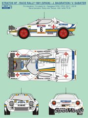 Reji Model: Marking / livery 1/24 scale - Lancia Stratos HF Rothmans #6 - Jorge de Bagration (ES) + Víctor Sabater (ES) - RACE Rally 1981 - resin parts, water slide decals and assembly instructions - for Hasegawa references 20217, 20261, 20268, 20282, 25032, HACR32 and HACR33, or Italeri reference 3654