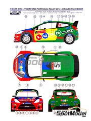 Reji Model: Marking / livery 1/24 scale - Ford Fiesta WRC LUDO Mobil #5 - Henning Solberg (NO) + Ilka Minor-Petrasko (AT) - Portugal Rally 2011 - water slide decals and assembly instructions - for Belkits reference BEL-003