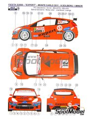 Reji Model: Marking / livery 1/24 scale - Ford Fiesta S2000 Expert #12 - Henning Solberg (NO) + Ilka Minor-Petrasko (AT) - Montecarlo Rally - Rallye Automobile de Monte-Carlo 2011 - photo-etched parts, water slide decals and assembly instructions - for Belkits reference BEL-002
