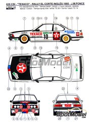 Reji Model: Marking / livery 1/24 scale - BMW 635 Csi Texaco #10 - Jose María Ponce (ES) + Isabel Fernández (ES) - El Corte Ingles Rally  1985 - water slide decals and assembly instructions - for Tamiya reference TAM24322