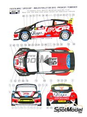 Reji Model: Marking / livery 1/24 scale - Ford Fiesta WRC Jipocar #51 - Martin Prokop (CZ) + Jan Tománek (CZ) - Walles Rally 2011 - water slide decals and assembly instructions - for Belkits reference BEL-003