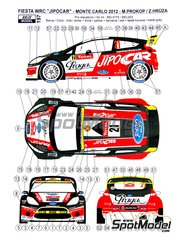 Reji Model: Marking / livery 1/24 scale - Ford Fiesta WRC Jipo Car #21 - Martin Prokop (CZ) + Zdenek Hruza (CZ) - Montecarlo Rally 2012 - photo-etched parts, water slide decals and assembly instructions - for Belkits reference BEL-003