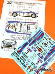 Reji Model: Marking / livery 1/24 scale - Lancia 037 Rally Martini #3 - Markku Alén (FI) + Ilkka Kivimäki (FI) - RAC Rally 1982 - water slide decals and assembly instructions - for Hasegawa references 20264, 20277, 20299, 25030 and HACR30