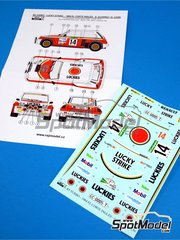 Reji Model: Marking / livery 1/24 scale - Renault R5 Turbo Lucky Strike #14 - Alvarez + Leon - El Corte Ingles Rally  1984 - water slide decals, assembly instructions and painting instructions - for Heller reference 80717, or Tamiya reference TAM24027