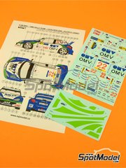 Decals 1/24 by Reji Model - Peugeot 206 WRC OMV - # 22 - Vojtech + Ernst - Catalunya rally 2006 for Tamiya kits TAM24221, TAM24226 and TAM24236 image