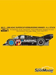 Reji Model: Marking / livery 1/24 scale - Porsche 962C Blaupunkt #1 - Hans-Joachim Stuck (DE) - ADAC Supercup Nürburing 1986 - water slide decals and assembly instructions - for Hasegawa references 20280, 20283, 20318, 20337 and 20345, or Model Factory Hiro reference MFH-K136, or Profil24 reference P24010, or Revell reference REV07251, or SpotModel reference DISCONTINUED-022, or Tamiya references TAM24089, TAM24233 and TAM24313