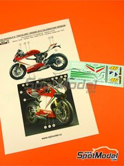 Reji Model: Decoración escala 1/12 - Ducati 1199 Panigale S Tricolore / World Ducati Week  2012 - calcas de agua y manual de instrucciones - para las referencias de Tamiya TAM14129 y 14129