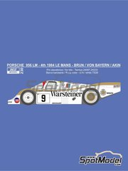 Reji Model: Marking / livery 1/24 scale - Porsche 956 Warsteiner #9 - Walter Brun (CH) + Prinz Leopold von Bayern (DE) + Bob Akin (US) - 24 Hours Le Mans 1984 - water slide decals and assembly instructions - for Tamiya references TAM24309 and TAM24314