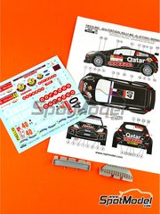 Reji Model: Marking / livery 1/24 scale - Ford Fiesta RRC Qatar #40 - Nasser Al-Attiyah (QA) + Arnaldo Bernacchini (IT) - Portugal Rally 2014 - resin parts, water slide decals and assembly instructions - for Belkits kit BEL-003