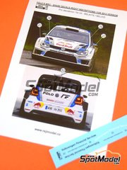 Reji Model: Marking 1/24 scale - Volkswagen Polo R WRC Volkswagen Financial Services - Alsace France Rally - water slide decals and assembly instructions - for Belkits kit BEL-005
