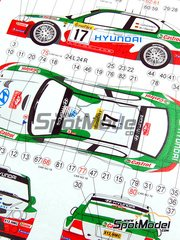 Reji Model: Model car kit 1/24 scale - Hyundai Accent WRC EVO 2 Castrol #17, 18 - Armin Schwarz (DE) + Manfred Hiemer (DE), Freddy Loix (BE) + Sven Smeets (BE) - Montecarlo Rally 2002 - photo-etched parts, resin parts, rubber parts, vacuum formed parts, water slide decals and assembly instructions