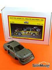 Reji Model: Model car kit 1/24 scale - Audi Quattro Sport S1 HB #1, 2, 3, 5, 6 - Montecarlo Rally, Sanremo Rally 1985 and 1986 - resin kit