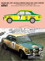 Reji Model: Marking 1/24 scale - Ford Escort RS1600 Mk I BP #7 - Jean-François Piot (FR) + Nicky Porter (GB) - Montecarlo Rally 1972 - photo-etched parts, water slide decals and assembly instructions - for Belkits kits BEL006 and BEL007