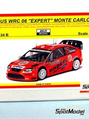 Reji Model: Model car kit 1/24 scale - Ford Focus WRC 06 Expert #10 - Petter Solberg (NO) + Cato Menkerud (FI) - Montecarlo Rally 2007 - resins, photo-etched parts and decals