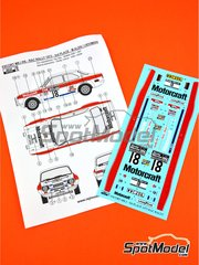 Reji Model: Marking 1/24 scale - Ford Escort RS1600 Mk I RS Motorcraft #18 - Markku Alén (FI) + Ilkka Kivimäki (FI) - RAC Rally 1973 - water slide decals and assembly instructions - for Belkits kits BEL006 and BEL007