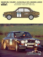 Reji Model: Decals 1/24 scale - Ford Escort RS1600 Mk I Colibri #1, 15 - Timo Mäkinen (FI) + Henry Liddon (GB), Markku Alén (FI) + Paul White (GB) - Great Britain RAC Rally 1974 - for Belkits references BEL006 and BEL007