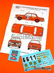 Reji Model: Marking / livery 1/24 scale - BMW 2002 tii BP #61 - Claude Ballot-Léna (FR) + Jean-Claude Morénas (FR) - Montecarlo Rally 1972 - water slide decals and assembly instructions - for Hasegawa references 20332, 21123 and HC-23