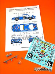 Reji Model: Marking 1/24 scale - Renault Alpine A110 Christine Laure #19 - Michele Mouton  (FR) + Françoise Conconi (FR) - Montecarlo Rally 1976 - resin parts, water slide decals and assembly instructions - for Tamiya kit TAM24278