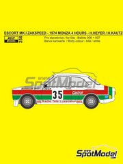 Reji Model: Marking 1/24 scale - Ford Escort Mk. I Zakspeed RTL #35 - Hans Heyer (DE) - 4 Hours Monza 1974 - resin parts, rubber parts, water slide decals and assembly instructions - for Belkits kits BEL006 and BEL007