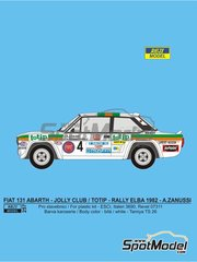 Reji Model: Marking / livery 1/24 scale - Fiat 131 Abarth Jolly Club Totip #4 - Andrea Zanussi (IT) + Arnaldo Bernacchini (IT) - Elba Rally 1982 - water slide decals, assembly instructions and painting instructions - for Italeri references 3662, ITA3662, 3662S, ITA3690 and 3690, or Revell references REV07311 and 07311