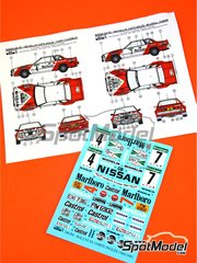 Reji Model: Marking / livery 1/24 scale - Nissan 240RS Marlboro #4, 7 - Terry Kaby (GB) + Kevin Gormley (GB), Mark Lovell (GB) + Peter Davis (GB) - El Corte Ingles Rally  1984 and 1985 - water slide decals and assembly instructions - for Beemax Model Kits references B24008 and B24014