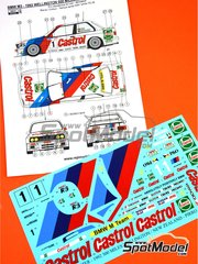 Reji Model: Decoración escala 1/24 - BMW M3 E30 Castrol Nº 1 - Emanuele Pirro (IT) + Joachim Winkelhock (DE) - 500 Millas de Wellington 1992 - calcas de agua y manual de instrucciones - para la referencia de Beemax Model Kits B24007