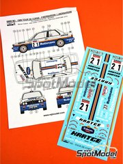 Reji Model: Marking 1/24 scale - BMW M3 E30 Rothmans #21 - Patrick Bernardini (FR) + José Bernardini (FR) - Tour de Corse 1989 - water slide decals and assembly instructions - for Beemax Model Kits kit B24007