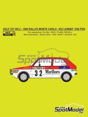 Reji Model: Marking 1/24 scale - Volkswagen Golf GTI Group 2 Marlboro #32, 36 - Gijs van Lennep (NL), Ben Pon (NL) - Montecarlo Rally 1980 - water slide decals and assembly instructions - for Fujimi kits FJ12275 and FJ126098, or Revell kit REV07072