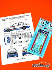 Reji Model: Marking / livery 1/24 scale - BMW M3 E30 Prodrive #14 - Marc Duez (BE) + Georges Biar (BE) - Tour de Corse 1987 - water slide decals and assembly instructions - for Beemax Model Kits kit B24007