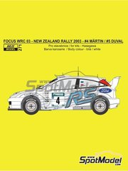 Reji Model: Marking / livery 1/24 scale - Ford Focus WRC #4, 5 - Markko Märtin (EE) + Michael Park (GB), François Duval (BE) + Stéphane Prévot (BE) - New Zealand rally 2003 - water slide decals and assembly instructions - for Hasegawa references 20222, 20240, 20263 and 25034