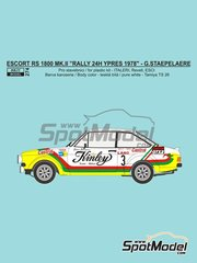 Reji Model: Marking / livery 1/24 scale - Ford Escort RS 1800 Mk. II Kinley #3 - Gilbert Staepelaere (BE) - Ypres Rally 1978 - water slide decals and assembly instructions - for ESCI references 3009, 3021 and 3049, or Italeri reference 3655, or Revell reference REV07374