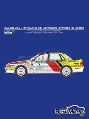 Reji Model: Marking / livery 1/24 scale - Mitsubishi Galant VR-4 Ralli Art #1 - Erwin  Weber (DE) + Manfred Hiemer (DE) - Barum Czech Rally 1992 - water slide decals and assembly instructions - for Hasegawa kit 20307