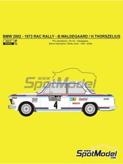 Reji Model: Marking / livery 1/24 scale - BMW 2002 tii Castrol #4 - Björn Waldegård (SE) + Hans Thorszelius (SE) - Great Britain RAC Rally 1973 - water slide decals and assembly instructions - for Hasegawa references 20332 and 21123