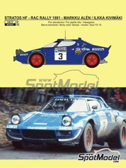 Reji Model: Marking / livery 1/24 scale - Lancia Stratos HF Pirelli #3 - Markku Alén (FI) + Ilkka Kivimäki (FI) - Great Britain RAC Rally 1981 - resin parts, water slide decals and assembly instructions - for Hasegawa references 20217, 20261, 20268, 20282, 25032, CR-32, HACR32, 25032, CR-32, HACR33, 25033 and CR-33