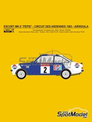 Reji Model: Marking / livery 1/24 scale - Ford Escort Mk. II RS1800 Pepsi #2 - Pentti Airikkala (FI) + Juha Piironen (FI) - Circuit des Ardennes 1983 - water slide decals and assembly instructions - for ESCI references 3009, 3021 and 3049, or Italeri references 3650 and 3655, or Revell references REV07374 and 7374