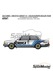 Reji Model: Marking / livery 1/24 scale - Volvo 240 Turbo Volvo Europe Dealer Team #1,2 - Johnny Cecotto (VE) + Anders Olofsson (SE), Ulf Granberg (SE) + Thomas Lindström (SE) - European Touring Car Championship ETCC 1986 - water slide decals and assembly instructions - for Beemax Model Kits reference B24012