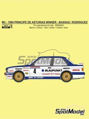 Reji Model: Marking / livery 1/24 scale - BMW M3 E30 Blaupunkt #4 - Pep Bassas (ES) + Antonio Rodríguez (ES) - Principe de Asturias Rally 1989 - water slide decals, assembly instructions and painting instructions - for Beemax Model Kits references B24007, B24016 and B24019, or Fujimi reference FJ125725