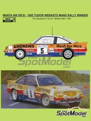 Reji Model: Decoración escala 1/24 - Opel Manta 400 Group B Andrews Heat for hire Nº 5 - Russell Brookes (GB) + Mike Broad (GB) - Tudor Webasto Manx International Rally 1985 - calcas de agua, manual de instrucciones e instrucciones de pintado - para las referencias de Belkits BEL008, BEL-008, BEL009 y BEL-009