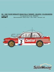 Reji Model: Marking / livery 1/24 scale - BMW M3 E30 Rally Castrol #2 - Patrick Snijers (BE) + Dany Colebunders (BE) - Tudor Webasto Manx International Rally 1988 - water slide decals and assembly instructions - for Beemax Model Kits references B24007, Aoshima 098196, B24016 and B24019