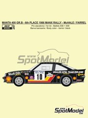 Reji Model: Marking / livery 1/24 scale - Opel Manta 400 Group B Dealer Opel Team Ireland #10 - Austin McHale (IE) +  Farrel (IE) - Tudor Webasto Manx International Rally 1986 - water slide decals, assembly instructions and painting instructions - for Belkits references BEL008 and BEL009, or Narton Kits reference NART004