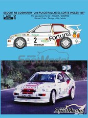 Reji Model: Marking / livery 1/24 scale - Ford Escort RS Cosworth Fortuna #2 - Bruno Thiry (BE) + Stéphane Prévot (BE) - El Corte Ingles Rally  1997 - water slide decals, assembly instructions and painting instructions - for Domino  reference DMN24144, or Tamiya references TAM24153, 24153, TAM24171, 24171 and TAM24xxx