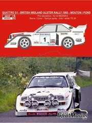 Reji Model: Marking / livery 1/24 scale - Audi Quattro Sport S1 #1 - Michele Mouton  (FR) + Fabrizia Pons (IT) - British Midland Ulster Rally 1985 - water slide decals, assembly instructions and painting instructions - for Beemax Model Kits reference B24017, or Profil24 reference P24065, or Reji Model reference REJI-2406