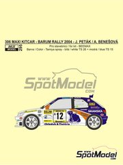 Reji Model: Marking / livery 1/24 scale - Peugeot 306 Maxi Kitcar #12 - Josef Peták (CZ) + Alena Benešová (CZ) - Barum Czech Rally 2004 - water slide decals and assembly instructions - for Beemax Model Kits reference B24xxx