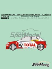 Reji Model: Marking / livery 1/24 scale - Peugeot 306 Maxi Kitcar Total #47 - Tomas Vojtech (CZ) - Czech Rally Championship 1997 - water slide decals and assembly instructions - for Beemax Model Kits reference B24xxx
