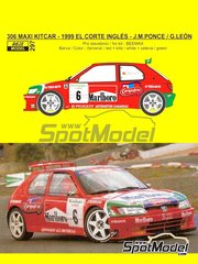 Reji Model: Marking / livery 1/24 scale - Peugeot 306 Maxi Kitcar Marlboro #6 - Jose María Ponce (ES) + Gaspar León (ES) - El Corte Ingles Rally  1999 - water slide decals and assembly instructions - for Beemax Model Kits reference B24xxx