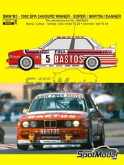 Reji Model: Marking / livery 1/24 scale - BMW M3 E30 Fina Bastos Team #5 - Steve Soper (GB) + Christian Danner (DE) - 24 Hours SPA Francorchamps 1992 - water slide decals and assembly instructions - for Beemax Model Kits references B24007, Aoshima 098196 and B24019