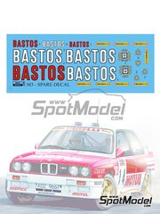 Reji Model: Logotipos escala 1/24 - BMW M3 E30 Rally Grupo A Bastos - Rally Tour de Corse - calcas de agua - para la referencia de Beemax Model Kits B24016