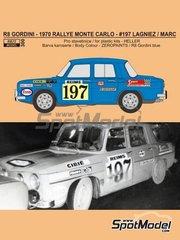 Reji Model: Decoración escala 1/24 - Renault R8 Gordini Nº 197 - Jean-Claude Lagniez (FR) - Rally de Montecarlo - Rallye Automobile de Monte-Carlo 1970 - calcas de agua, manual de instrucciones e instrucciones de pintado - para las referencias de Heller 80700, L760 y HE80700