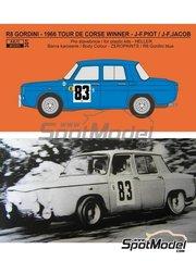Reji Model: Decoración escala 1/24 - Renault R8 Gordini Nº 83 - Jean-François Piot (FR) + Jean-François Jacob (FR) - Rally Tour de Corse 1966 - calcas de agua, manual de instrucciones e instrucciones de pintado - para las referencias de Heller 80700, L760 y HE80700