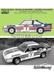 Reji Model: Marking / livery 1/24 scale - Opel Manta Group B Rothmans #7 - Henri Toivonen (FI) + Fred Gallagher (IE) - Sanremo Rally 1983 - water slide decals and assembly instructions - for Belkits references BEL008, BEL-008, BEL009 and BEL-009